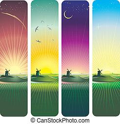 bannières, coucher soleil, levers de soleil, vertical