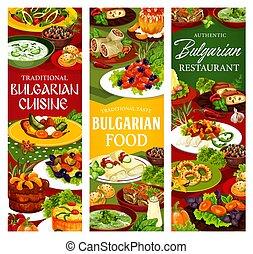 bannières, cuisine, bulgare, salade, dessert, soupe