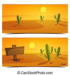 bannières, désert