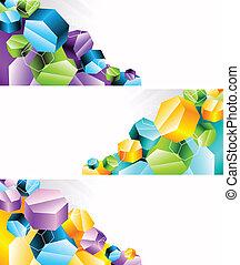 bannières, ensemble, 3d, hexagone