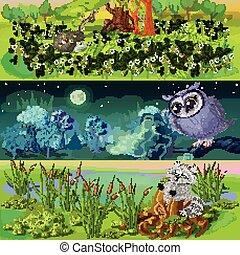 bannières, ensemble, animaux, dessin animé