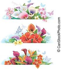 bannières, ensemble, fleurs