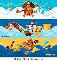 bannières, ensemble, horizontal, pirates