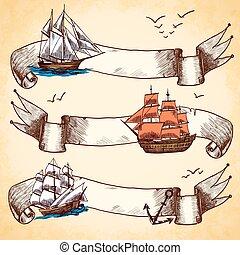 bannières, ensemble, nautique