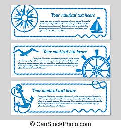 bannières, ensemble, nautique, themed