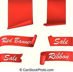 bannières, ensemble, rubans, rouges
