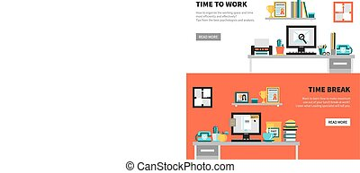 bannières, espace de travail, bureau, conception, ensembles