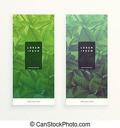 bannières, feuilles vertes, vertical