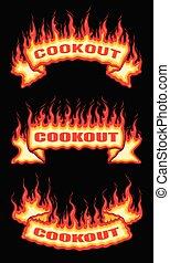 bannières, flamme, rouleau, brûler, barbecue