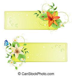 bannières, fleurs