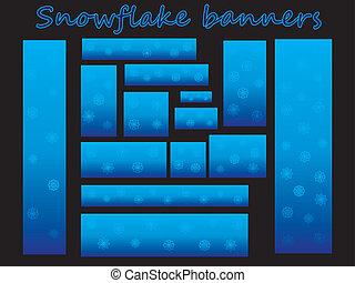 bannières, flocons neige