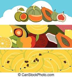 bannières, fruit, collection
