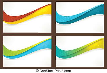 bannières, gabarits, ensemble, coloré, vague