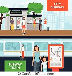 bannières, gens, horizontal, métro