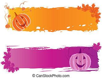 bannières, halloween, citrouille