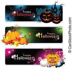 bannières, halloween, fantaisie
