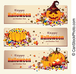 bannières, halloween, retro