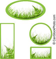 bannières, herbe