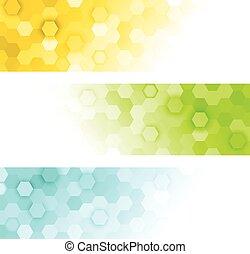 bannières, hexagones