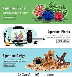 bannières, horizontal, aquarium