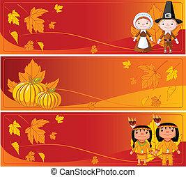 bannières, horizontal, thanksgiving