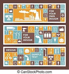 bannières horizontales, éléments, industrie