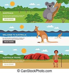 bannières horizontales, australie, ensemble, voyage