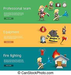 bannières horizontales, ensemble, équipe, équipement, pompiers