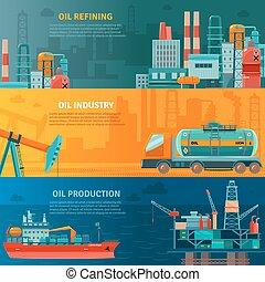 bannières horizontales, huile, ensemble, industrie