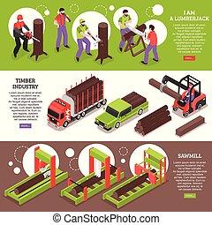 bannières horizontales, industrie, bois construction