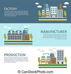 bannières horizontales, industriel, ensemble, bâtiments