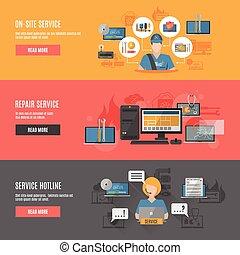 bannières horizontales, interactif, réparation, informatique...