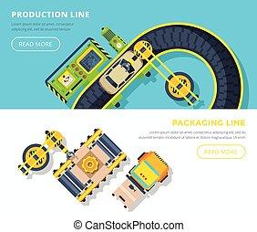 bannières horizontales, ligne production