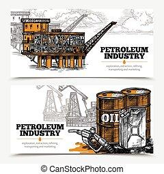 bannières horizontales, pétrole, industrie
