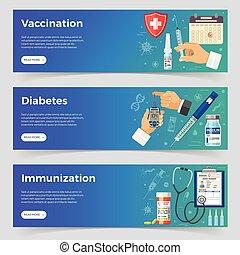 bannières, immunisation, vaccination, diabète