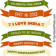 bannières, inde, jour, indépendance