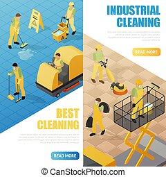 bannières, industriel, nettoyage