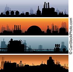 bannières, industriel, paysage
