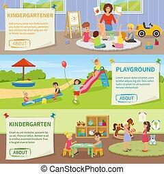 bannières, jardin enfants, plat, horizontal