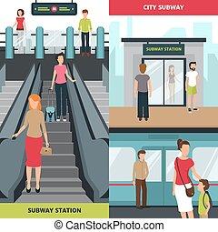 bannières, métro, vertical, gens