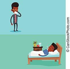 bannières, monde médical, text., deux, espace