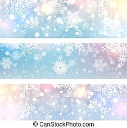 bannières, noël, arrière-plans, flocons neige