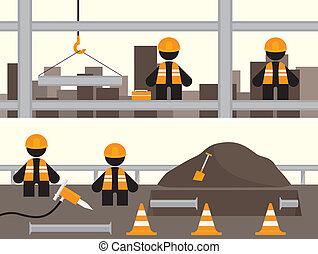 bannières, ouvriers
