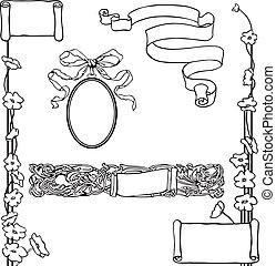 bannières, page, décorations