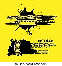 bannières, pas, pneu, marques
