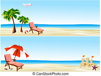 bannières, plage