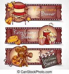 bannières, retro, cinéma