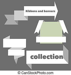 bannières, retro, orange, rubans, collection