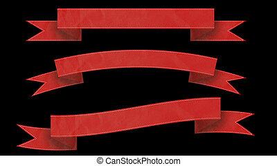 bannières, ruban, ton, text., rouges