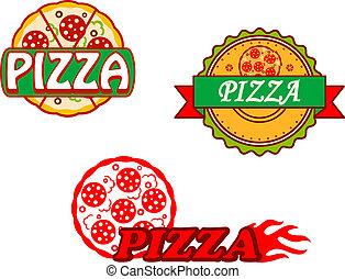 bannières, savoureux, emblèmes, pizza